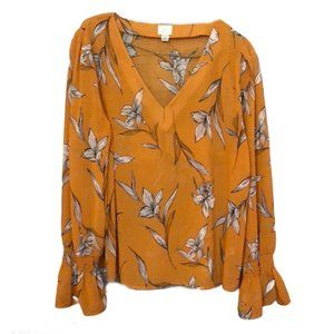 A New Day Orange Floral Top Size L